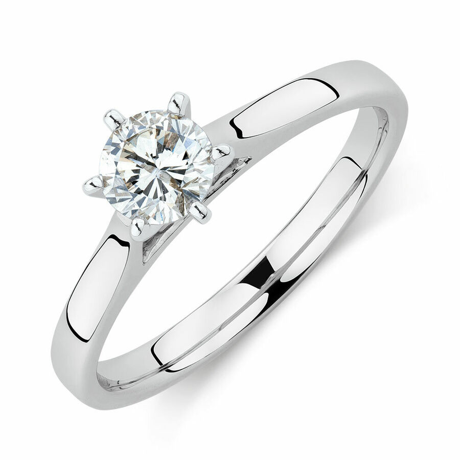 Solitaire Engagement Ring With a 1/2 Carat TW Diamond in 14ct White Gold