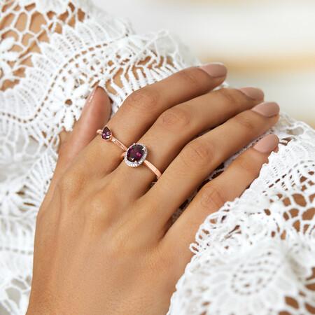 Stacker Ring with Diamonds & Rhodolite Garnet in 10ct Rose Gold