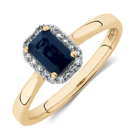Ring with Sapphire & Diamonds in 10ct Yellow Gold