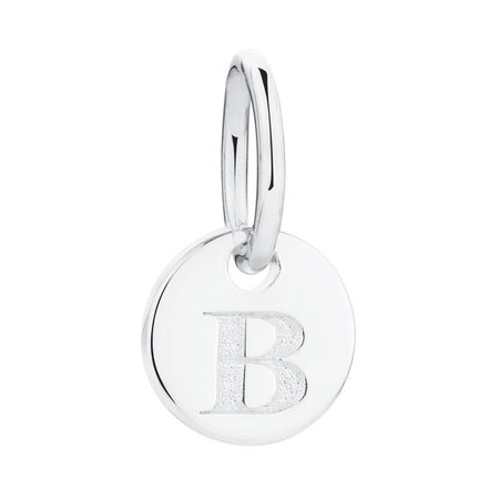 """B"" Initial Mini Pendant in Sterling Silver"