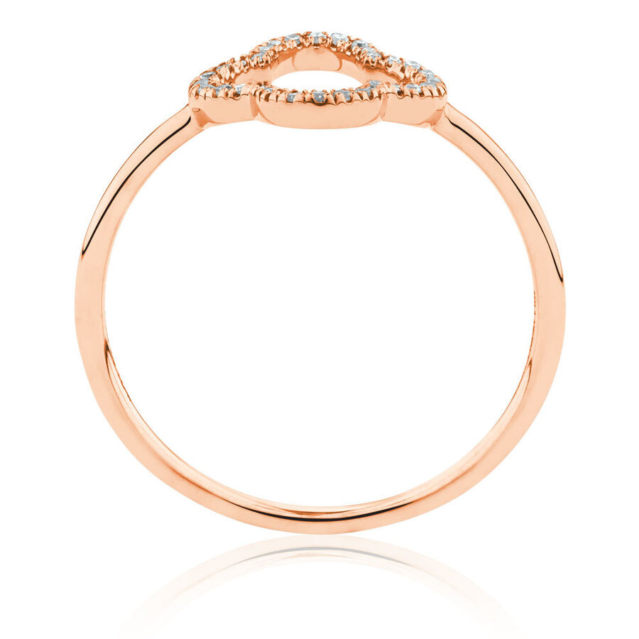 4 Leaf Clover Ring With Diamonds In 10ct Rose Gold