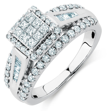 Engagement Ring with 1 Carat TW of Diamonds in 10ct White Gold