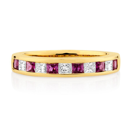 Online Exclusive - Ring with Ruby & 0.375 Carat TW of Diamonds in 10ct Yellow Gold