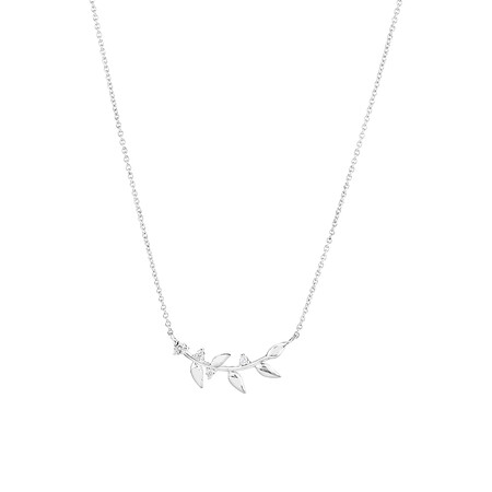 50cm Leaf Necklace with Cubic Zirconia in Sterling Silver