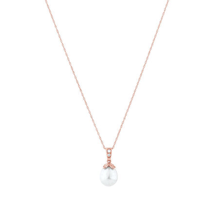 Pendant with Diamonds & Cultured Freshwater Pearl in 10ct Rose Gold