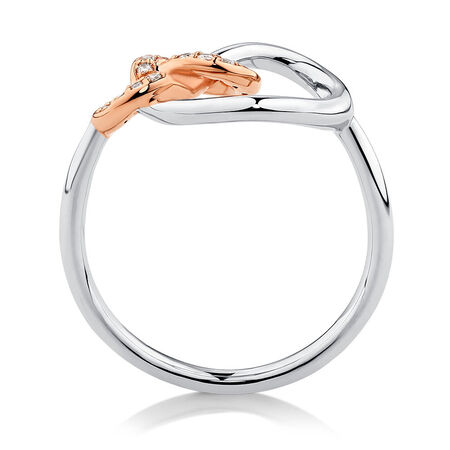 Knots Ring with 0.11 Carat TW of Diamonds in Sterling Silver & 10ct Rose Gold