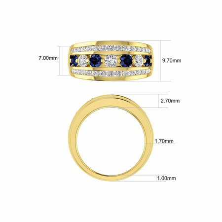 Ring with Natural Sapphire & 1 Carat TW of Diamonds in 14ct Yellow Gold