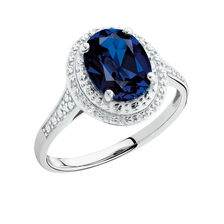 Ring with Sapphire & Diamonds in 10ct White Gold
