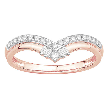 Chevron Ring with 0.25 Carat TW of Diamonds in 10ct Rose Gold