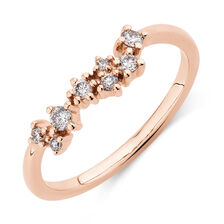 Stacker Ring with 0.18 Carat TW of Diamonds in 10ct Rose Gold