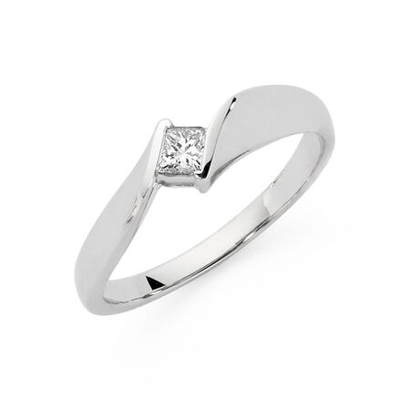 Online Exclusive - Solitaire Engagement Ring with a 1/5 Carat TW Diamond in 9ct White Gold