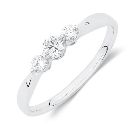 Online Exclusive - Three Stone Ring with 1/4 Carat TW of Diamonds in 10ct White Gold