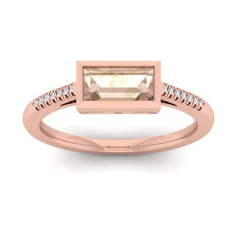 Ring with Morganite & Diamond in 10ct Rose Gold