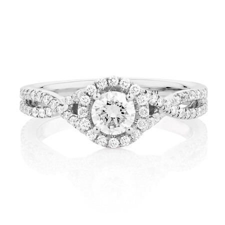 Sir Michael Hill Designer GrandAdagio Engagement Ring with 1.05 Carat TW of Diamonds in 14ct White Gold