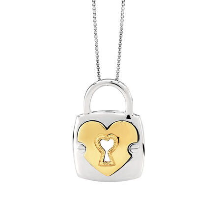 Padlock Pendant in 10ct Yellow Gold & Sterling Silver