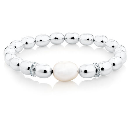 "Online Exclusive - 19cm (7.5"") Bracelet with Cultured Freshwater Pearl & Cubic Zirconias in Sterling Silver"