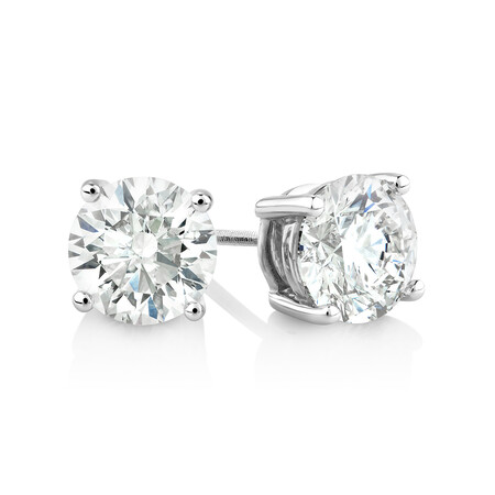 Laboratory-Created 3.00 Carat Stud Earrings in 14ct White Gold