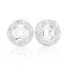 Cubic Zirconia & Sterling Silver Circle Earring Enhancer
