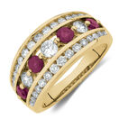 Ring with Ruby & 1 Carat TW of Diamonds in 14ct Yellow Gold