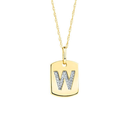 """""""W"""" Initial Rectangular Pendant With Diamonds In 10ct Yellow Gold"""