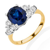 Ring with Created Sapphire & 0.10 Carat TW of Diamonds in 10ct Yellow & White Gold