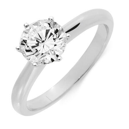 Certified Solitaire Engagement Ring with A 1 1/2 Carat TW Diamond in 18ct White Gold