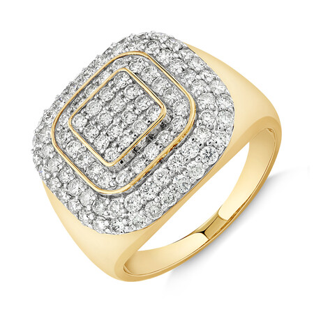 Ring with 2 Carat TW of Diamonds in 10ct Yellow Gold