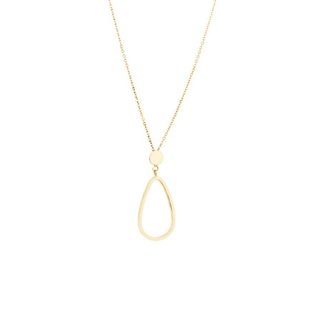 Open Pear Drop Pendant in 10ct Yellow Gold