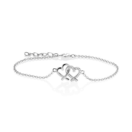 Double Heart Bracelet with White Cubic Zirconia in Sterling Silver