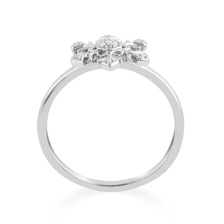 Snowflake Ring With Diamonds In Sterling Silver