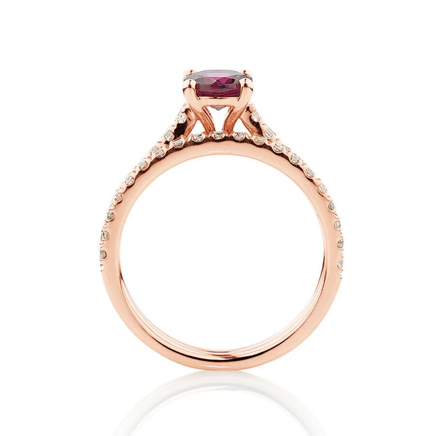 Bridal Set with 0.69 Carat TW of Diamonds & Rhodolite Garnet in 14ct Rose Gold