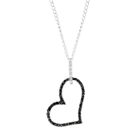 Pendant with 0.16 Carat TW of White & Enhanced Black Diamonds in Sterling Silver