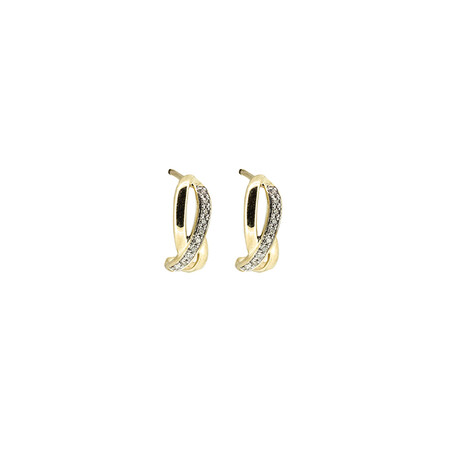 Twist Huggie Earrings with Diamonds in 10ct Yellow Gold