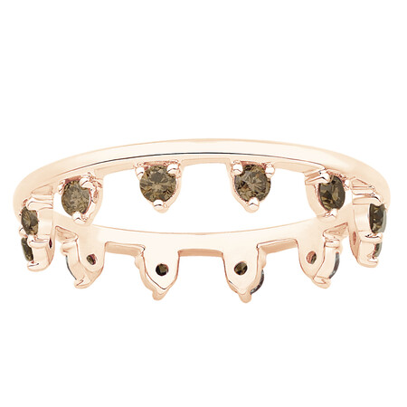 Zipper Ring with 0.41 Carat TW of Champagne Diamonds in 10ct Rose Gold