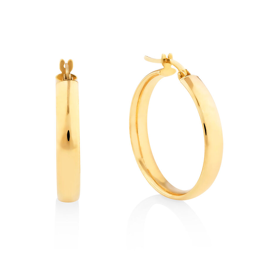23mm Round Hoop Earring in 10ct Yellow Gold