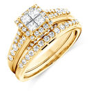 Bridal Set with 1 Carat TW of Diamonds in 14ct Yellow Gold