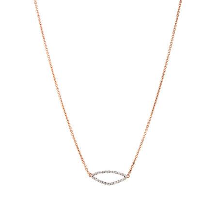 Organic Shape Pendant with Diamond in 10ct Rose Gold