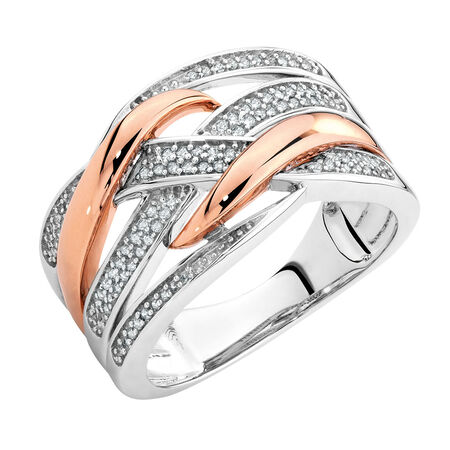 Ring with 0.20 Carat TW of Diamonds in 10ct Rose Gold & Sterling Silver