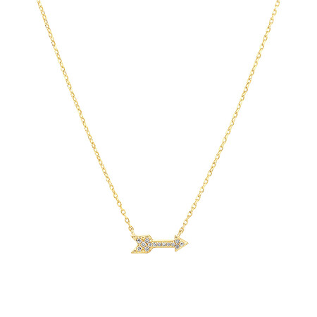 Arrow Necklace with Diamonds in 10ct Yellow Gold