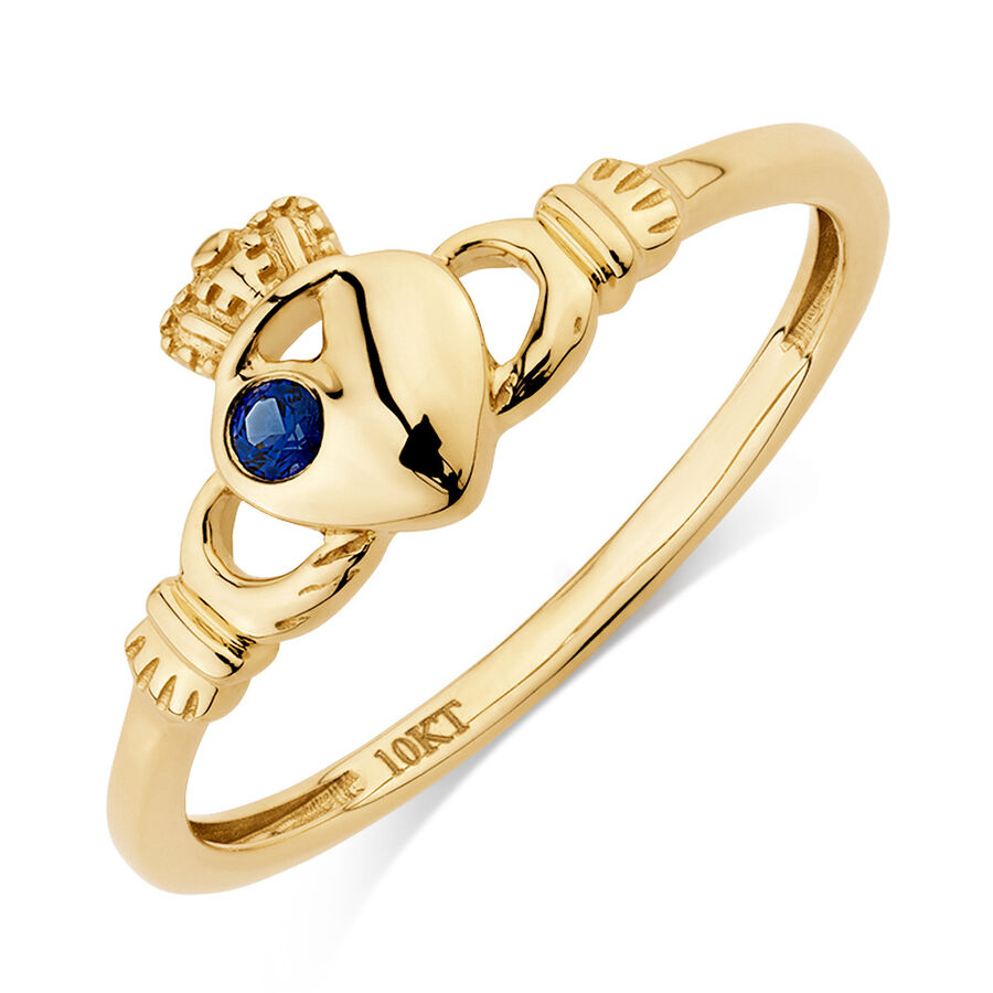 Claddagh Ring with Created Sapphire in 10ct Yellow Gold