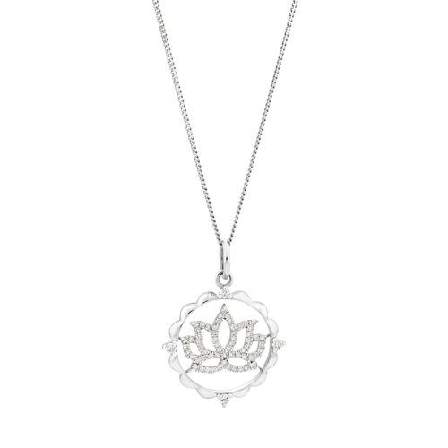 Lotus Talisman Pendant with 0.15 carat TW of Diamonds in Sterling Silver