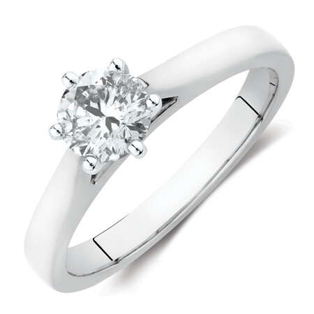 Solitaire Engagement Ring with a 0.70 Carat TW Diamond in 14ct White Gold