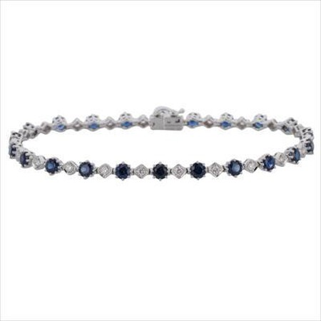 Bracelet with Natural Sapphire & 0.43 Carat TW of Diamonds in 10ct White Gold