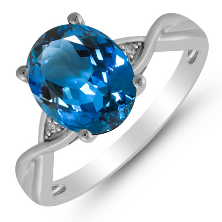 Twist Ring with Blue Topaz & Diamond in 10ct White Gold