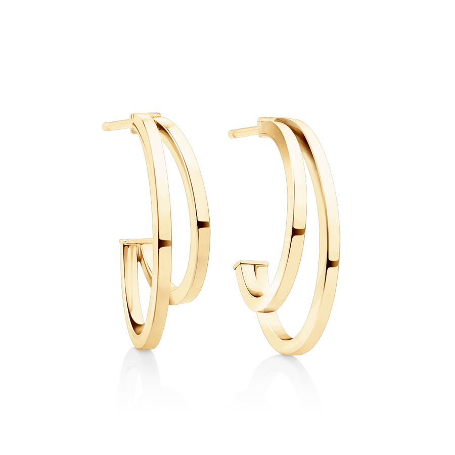 Small Half Hoop Earrings In 10ct Yellow Gold