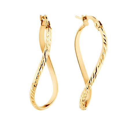Patterned Twist Earrings in 10ct Yellow Gold