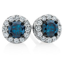 Online Exclusive - Stud Earrings with 1/2 Carat TW of White & Enhanced Blue Diamonds in 10ct White Gold