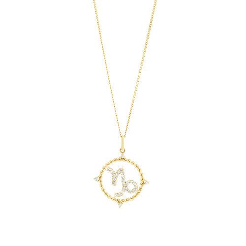 Capricorn Zodiac Pendant with 0.20 Carat TW of Diamonds in 10ct Yellow Gold