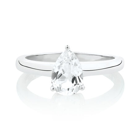 Pear Ring with Created White Sapphire in Sterling Silver