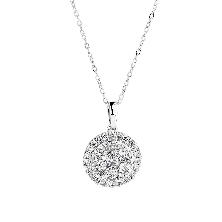 Cluster Pendant with 1.0 Carat TW of Diamonds in 10ct White Gold